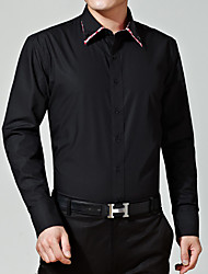 Men's Casual/Daily / Formal Simple Spring / Winter Shirt,Solid Classic Collar Long Sleeve Black Cotton Medium