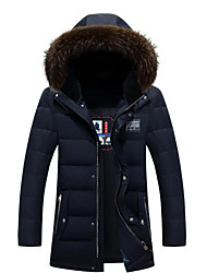 Men's Long Down Coat,Simple Casual/Daily Solid-Polyester White Duck Down Long Sleeve Hooded Blue