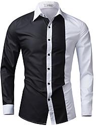 Men's Casual/Daily / Formal Simple Spring / Fall ShirtColor Block Shirt Collar Long Sleeve  Cotton / Acrylic 916467