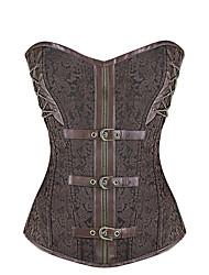 Shaperdiva Women Leather Steel Boned Waist Cincher Gothic Steampunk Corset
