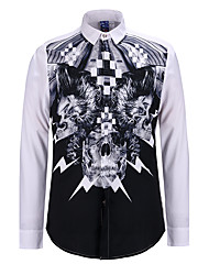 new Europe and the United States men's digital 3 d printing long sleeve shirt collar cultivate one's morality