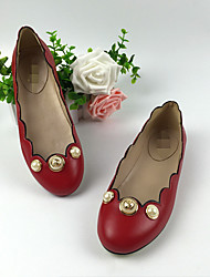 Women's Flats Comfort Leather Spring Summer Fall Casual Comfort Pearl Flat Heel Black Ruby Flat