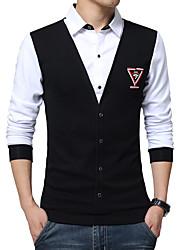 Masculino Camisa Casual / Tamanhos Grandes Mosaico de Retalhos Manga Comprida Algodão / Elastano Preto / Azul / Vermelho / Branco / Cinza