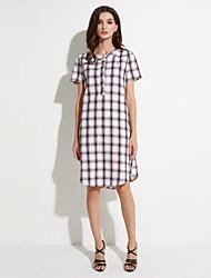 Mulheres Solto / Camisa Vestido,Casual Simples Quadriculada Colarinho de Camisa Assimétrico Manga Curta Azul / Vermelho / PretoAlgodão /