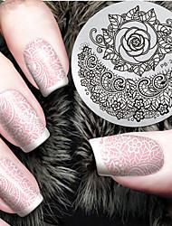 2016 dernier modèle la version de la mode fleur rose ongle art estampage des plaques de modèle d'image