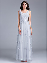 Formal Evening / Black Tie Gala Dress Sheath / Column V-neck Floor-length Tulle with Appliques / Beading / Flower(s)