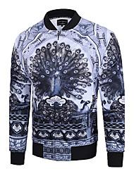 Veste Hommes,Imprimé Soirée / Grandes Tailles / Habillées simple / Chic de Rue / Actif Manches Longues Col en V Gris Coton / Polyester Fin