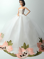 Wedding Dresses For Barbie Doll Ivory Lace Dresses For Girl's Doll Toy