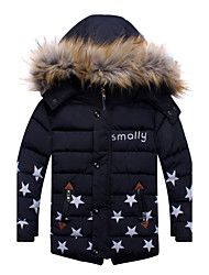 Boy's Casual/Daily Solid Down & Cotton Padded,Cotton Winter Black / Red