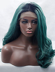 Ombre Black/Green Color Long Wavy Synthetic Lace Wigs
