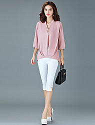 Women's Plus Size / Going out / Casual/Daily Simple / Street chic Spring / Fall BlouseSolid V Neck Pink / White / Black