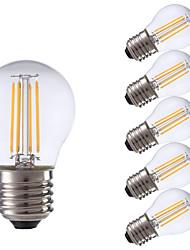 4W E26/E27 Ampoules à Filament LED P45 4 COB 300 lm Blanc Chaud Décorative V 6 pièces