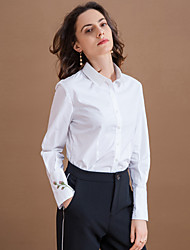 Women's Formal Simple Fall Shirt,Embroidered Shirt Collar Long Sleeve White Cotton / Polyester Medium