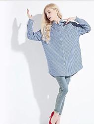 Women's Going out Boho Fall Shirt,Striped Shirt Collar Long Sleeve Blue / Pink Cotton / Polyester Medium