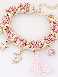 Women's Fashion European Style Metal Tassel Starfish Tortoise Pearl Charm Bracelet