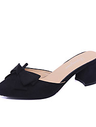 Women's Heels Spring Summer Fall Comfort PU Casual Chunky Heel Black Gray Fuchsia