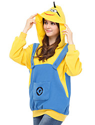 Cute Minion Hoodie Jacket Polar Fleece Kigurumi  Casual Top Cosplay Costume Adult Unisex