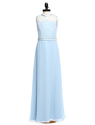 Lanting Bride® Floor-length Chiffon / Lace Junior Bridesmaid Dress Sheath / Column Jewel with Sash / Ribbon