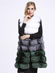 Manteau en Fourrure Femme,Couleur Pleine Décontracté / Quotidien Sophistiqué Sans Manches Col Arrondi Bleu / Marron / Vert / Violet