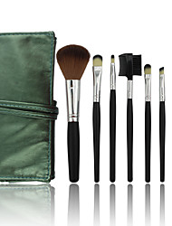 7 Makeup Brushes Set Synthetic Hair Professional / Portable Wood Face / Eye / Lip Green