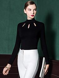 Damen Solide Einfach Ausgehen T-shirt,Rollkragen Frühling / Herbst Langarm Weiß / Schwarz Baumwolle Undurchsichtig