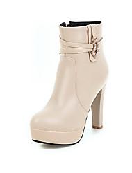 Women's Solid High-Heels Round Closed Toe Pu Zipper Boots