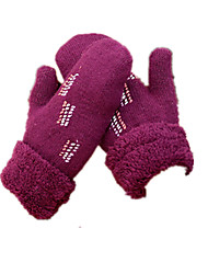Wolle Handschuhe (lila gestickte Handschuhe)