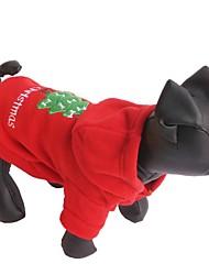 Gatos / Cães Camisola com Capuz Vermelho Roupas para Cães Inverno Cor Única Natal / Ano Novo