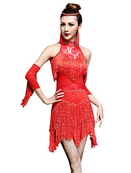 Danse latine Robes Femme Spectacle Chinlon Nylon 3 Pièces Sans manche Taille haute Robe Gants