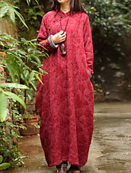 Cynthia Women's Casual/Daily Chinoiserie Loose DressJacquard Stand Maxi Long Sleeve Red Linen Winter