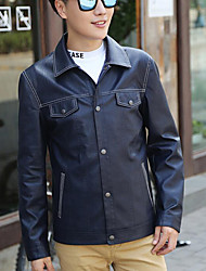 Herren Solide Einfach Ausgehen Jacke,Herbst Langarm Blau / Rot Mittel Polyester