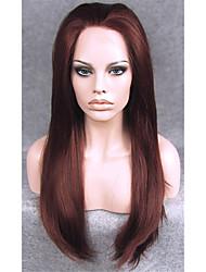 Soie 24inch auburn droite douces résistantes perruques syntheitc haute chaleur