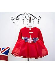 Robe / Ensemble & Combinaison Fille de Couleur Pleine Sortie Coton Printemps / Automne Bleu / Rouge