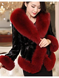 Women's Casual/Daily Simple Fur Coat,Solid Long Sleeve Winter Blue / Red / Purple Faux Fur