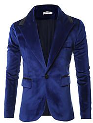Giacca Da uomo Casual Semplice Autunno / Inverno,Tinta unita Colletto Cotone / Poliestere Blu / Nero Manica lunga Medio spessore