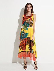 Women's Beach Boho A Line / Chiffon Dress,Print Round Neck Maxi Sleeveless White / Yellow Cotton / Polyester Summer