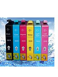 adapté pour epson artisan 835/837/730 imprimante cartouches bk / r / y / bl / c / m 18ml / couleur