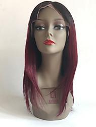 99J glueless avant de dentelle perruques de cheveux humains droites avec des cheveux de bébé pour les femmes noires de chapeau brun moyen