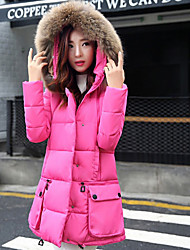 Sign cloak 2016 new female Korean feather padded collar Nagymaros grew yards loose cotton jacket was thin