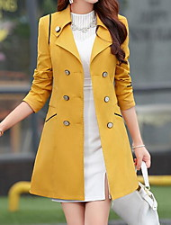 Women's Casual/Daily Street chic CoatSolid Shirt Collar Long Sleeve Fall / Winter Blue / Pink  Cotton Thick