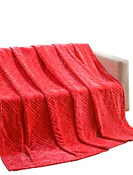 Bedtoppings Blanket Flannel Coral Fleece Fake Mink Queen Size 200x230cm Red Solid 320GSM