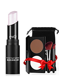 MSQ® 3 Highlighters/Bronzers Dry Matte Concealer + 2 Makeup Brushes Face Black / Pink / White china
