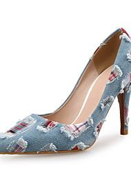 Mujer-Tacón Stiletto-Innovador-Tacones-Oficina y Trabajo / Vestido / Casual / Fiesta y Noche-Vaquero / Microfibra-Azul