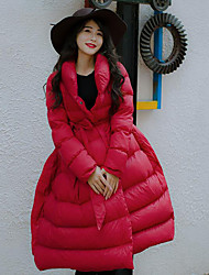 Women's Padded Coat,Simple Casual/Daily Solid-Others / Rex Rabbit Fur Polypropylene Long Sleeve Red / Black