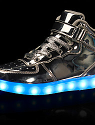 Men's Sneakers Spring Fall Comfort Light Up Shoes Leatherette Casual Flat Heel Lace-up LED Black Red White Silver Gold