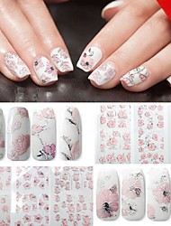 4 Sheets Pink Flower 3D Relief Nail Art Stickers Manicure Decorationm