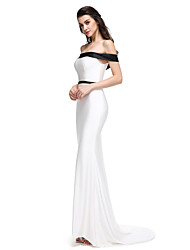TS Couture® Formal Evening Dress Trumpet / Mermaid Off-the-shoulder Sweep / Brush Train Jersey with Sash / Ribbon