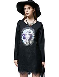 Mujer Recto Vestido Noche / Casual/Diario Simple / Bonito,Estampado Escote Redondo Mini Manga Larga Negro Algodón / Poliéster / Nailon