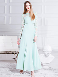 MASKED QUEEN Women's Formal Sophisticated Sheath DressSolid Round Neck Maxi Long Sleeve Green Polyester