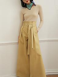 Mujer Corto Pullover Casual/Diario Vintage,Un Color Beige Escote Redondo Manga Larga Otro Otoño Fino Microelástico
